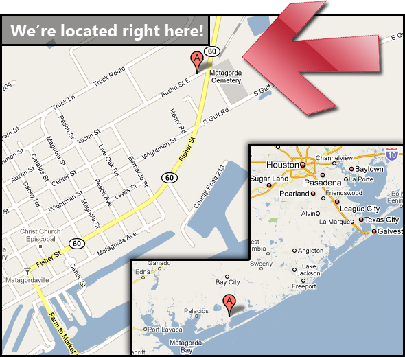 Matagorda Boat and RV Storage location map